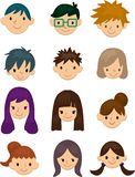 Cartoon young people face icon Royalty Free Stock Photos
