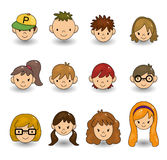 Cartoon young people face icon stock illustration
