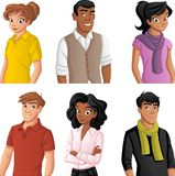 Cartoon young people. Group of cartoon young people Stock Images