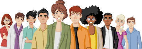 Cartoon young people. Group of business cartoon young people vector illustration