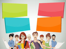 Cartoon young people. Template for advertising brochure with cartoon young people Royalty Free Stock Photography