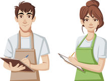 Cartoon young people wearing apron. Workers holding clipboards Stock Images