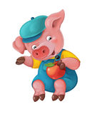 Cartoon  young pig in work outfit - isolated Royalty Free Stock Image