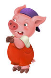 Cartoon  young pig in work outfit - isolated Royalty Free Stock Photo
