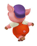 Cartoon  young pig in work outfit - isolated Stock Image