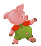 Cartoon  young pig in work outfit - isolated Royalty Free Stock Photos