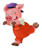Cartoon  young pig in work outfit - isolated Stock Photo