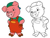 Cartoon  young pig in work outfit looking / isolated coloring page Stock Photo