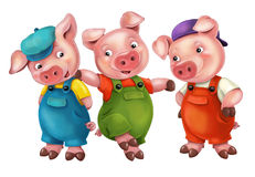 Cartoon  young pigs in work outfit -  Stock Images
