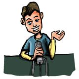 Cartoon of young radio DJ Royalty Free Stock Images