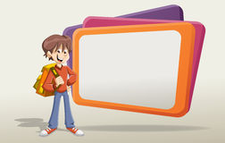 Cartoon young student boy with backpack. Stock Photo
