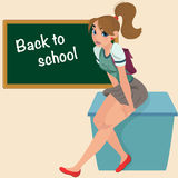 Cartoon young student teenager on desk. Cute teenage girl student. Banner Back to school - cute girl at the board ready to learn Stock Image