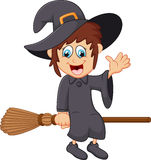 Cartoon young witch flying on her broom Stock Photos