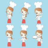 Cartoon young woman chef royalty free illustration