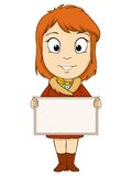 Cartoon young woman with empty board Stock Photo