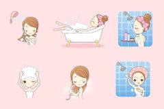 Cartoon young woman enjoy bath Stock Photo