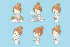 Cartoon young woman enjoy tea Royalty Free Stock Photo