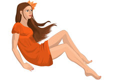 Cartoon young woman with flower in her hair and bare feet Stock Images