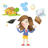 Cartoon young woman future choice career family Royalty Free Stock Photo