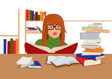 Cartoon young woman in glasses sitting and reading books Royalty Free Stock Image