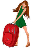Cartoon young woman green dress and red suitcase Stock Photos