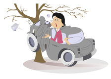 Free Cartoon Young Woman Have Got Into A Road Accident Royalty Free Stock Images - 96603519
