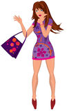 Cartoon young woman in mini purple dress with bag Stock Photos