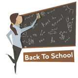 Cartoon young woman near school blackboard Royalty Free Stock Image