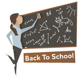 Cartoon young woman near school blackboard Royalty Free Stock Photography