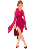 Cartoon young woman in pink dress and pink scarf Stock Images