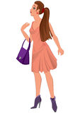 Cartoon young woman in pink dress and purple bag Royalty Free Stock Photography