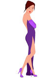 Cartoon young woman in purple evening dress with open back Royalty Free Stock Photo