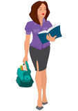 Cartoon young woman reading book and holding bag Royalty Free Stock Image