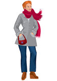 Cartoon young woman in red scarf and gray coat Stock Images