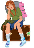 Cartoon young woman sitting on brown suitcase with backpack Royalty Free Stock Image