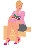 Cartoon young woman sitting on the stairs holding books Royalty Free Stock Image