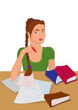 Cartoon young woman in sitting and writing Stock Photos