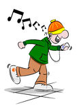 Cartoon Youth with Mobile Phone. A cartoon youth dancing to music on his mobile phone Royalty Free Stock Image