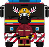 Cartoon Zebra Fireman and Fire Truck. An EPS file is also available. Cartoon Zebra Royalty Free Stock Photos
