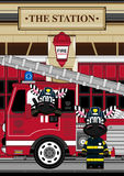 Cartoon Zebra Fireman and Fire Truck. An EPS file is also available.Cartoon Zebra Stock Image