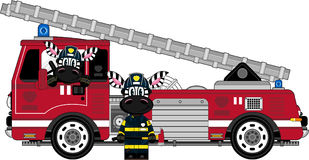Cartoon Zebra Fireman and Fire Truck. An EPS file is also available. Cute Cartoon Zebra Royalty Free Stock Image