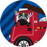 Cartoon Zebra Fireman and Fire Truck. An EPS file is also available. Cute Cartoon Zebra Royalty Free Stock Photos