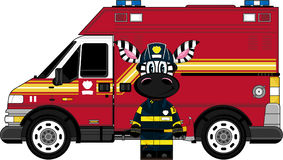 Cartoon Zebra Fireman and Fire Truck. An EPS file is also available. Cute Cartoon Zebra Stock Photo