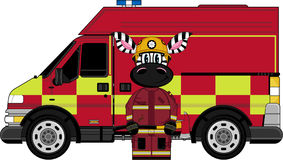 Cartoon Zebra Fireman and Fire Truck. An EPS file is also available. Cute Cartoon Zebra Stock Image