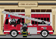 Cartoon Zebra Fireman and Fire Truck. An EPS file is also available. Cute Cartoon Giraffe Royalty Free Stock Photos