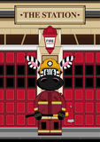 Cartoon Zebra Fireman at Station. An EPS file is also available. Cute Cartoon Zebra Stock Photo