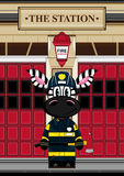 Cartoon Zebra Fireman at Station. An EPS file is also available. Cute Cartoon Zebra Stock Photos