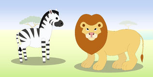 Cartoon zebra and lion Stock Image