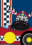 Cartoon Zebra in Racing Car. An EPS file is also available Royalty Free Stock Photos
