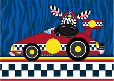 Cartoon Zebra in Racing Car. An EPS file is also available Stock Photos